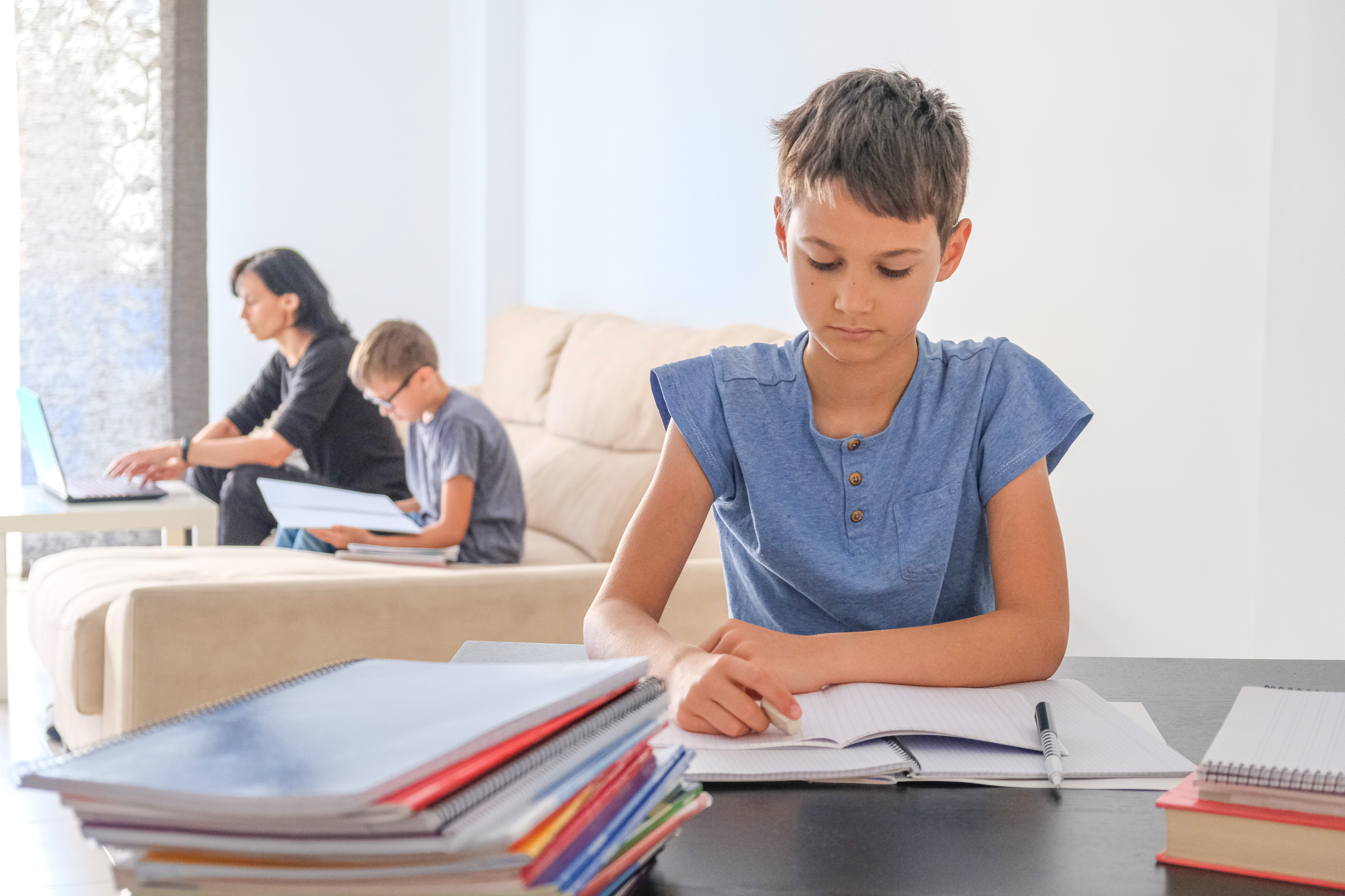 at home distance learning for kids and parents.